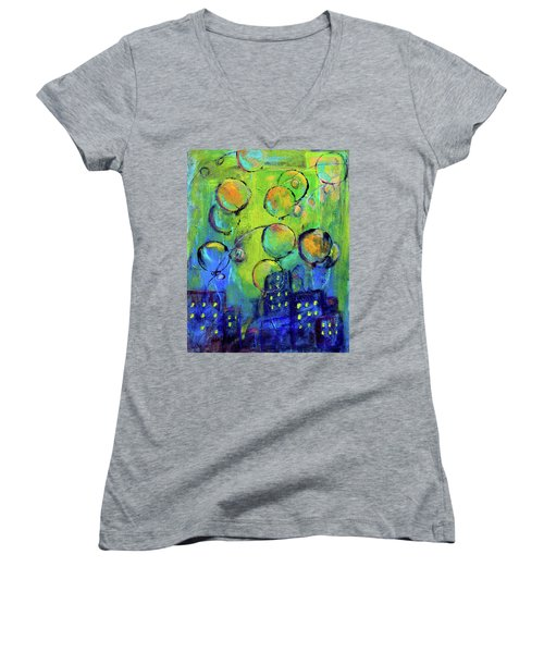 Cheerful Balloons Over City Women's V-Neck (Athletic Fit)