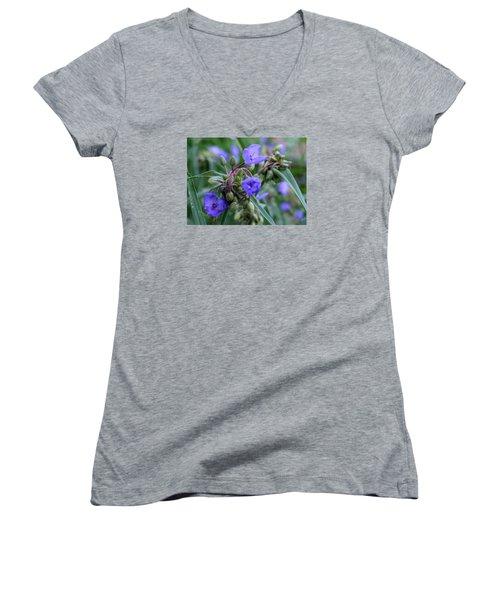 Women's V-Neck T-Shirt (Junior Cut) featuring the photograph Balmy Blue by Michiale Schneider