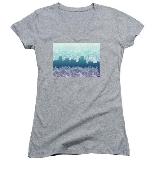 Women's V-Neck T-Shirt (Junior Cut) featuring the painting Baltimore City Skyline Map 2 by Bekim Art
