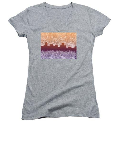 Women's V-Neck T-Shirt (Junior Cut) featuring the painting Baltimore City Skyline Map by Bekim Art
