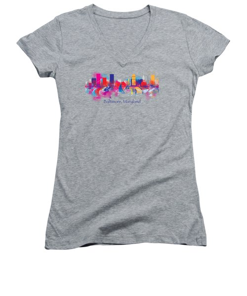Baltimore Maryland Skyline For T-shirts And Accessories Women's V-Neck T-Shirt (Junior Cut) by Loretta Luglio