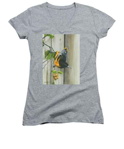 Women's V-Neck T-Shirt (Junior Cut) featuring the painting Baltimore Oriole by Mike Brown
