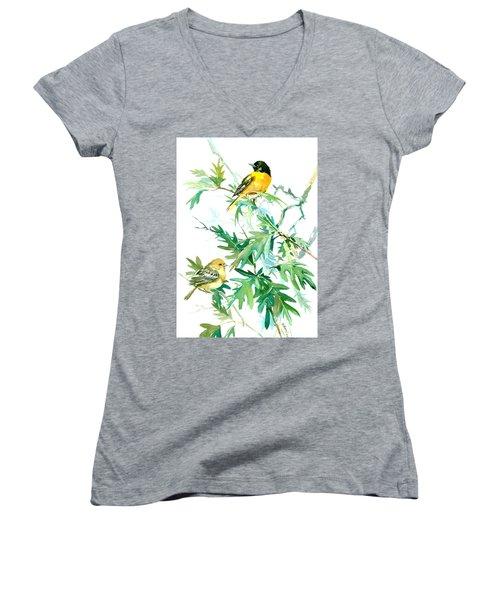 Baltimore Orioles And Oak Tree Women's V-Neck T-Shirt (Junior Cut) by Suren Nersisyan