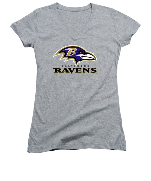 Baltimore Ravens On An Abraded Steel Texture Women's V-Neck (Athletic Fit)