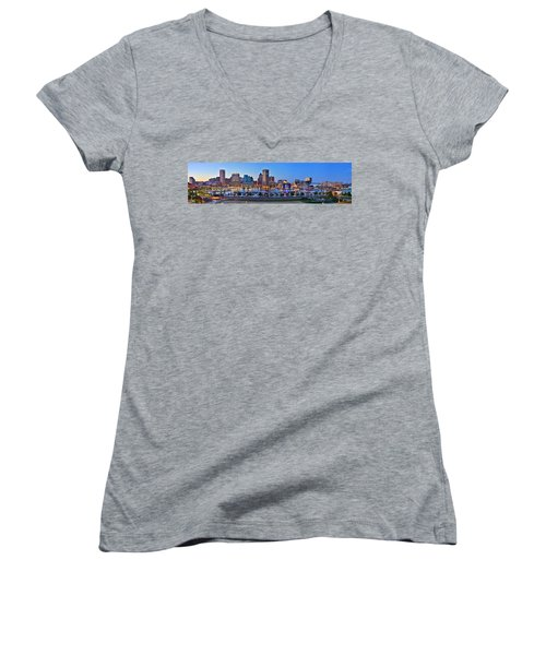 Baltimore Skyline Inner Harbor Panorama At Dusk Women's V-Neck T-Shirt