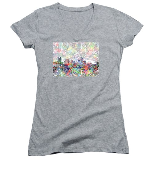 Women's V-Neck T-Shirt (Junior Cut) featuring the painting Baltimore Skyline Watercolor 11 by Bekim Art