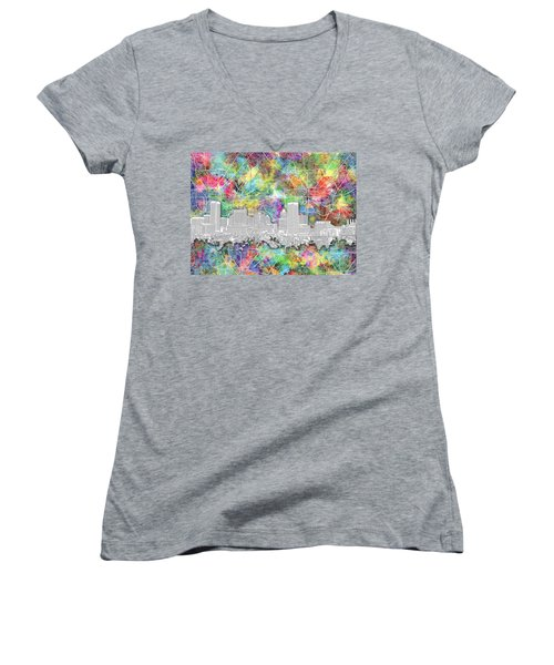 Women's V-Neck T-Shirt (Junior Cut) featuring the painting Baltimore Skyline Watercolor 12 by Bekim Art