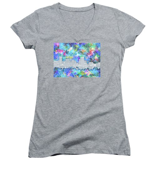 Women's V-Neck T-Shirt (Junior Cut) featuring the painting Baltimore Skyline Watercolor 14 by Bekim Art
