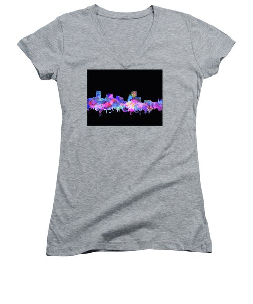 Women's V-Neck T-Shirt (Junior Cut) featuring the painting Baltimore Skyline Watercolor 5 by Bekim Art