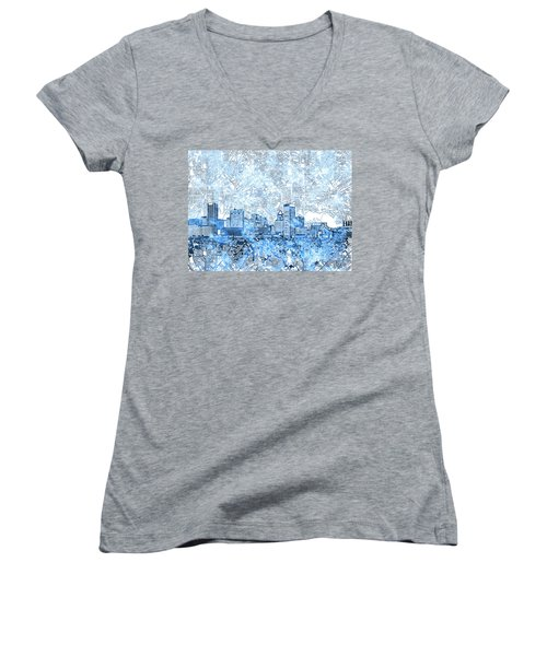 Women's V-Neck T-Shirt (Junior Cut) featuring the painting Baltimore Skyline Watercolor 9 by Bekim Art