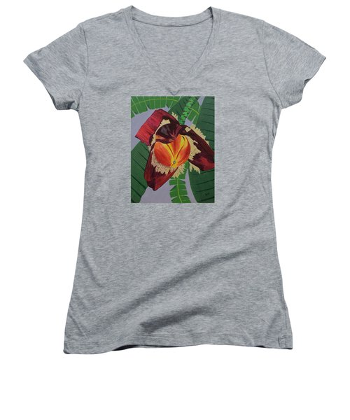 Women's V-Neck T-Shirt (Junior Cut) featuring the painting Banana Blossom by Hilda and Jose Garrancho