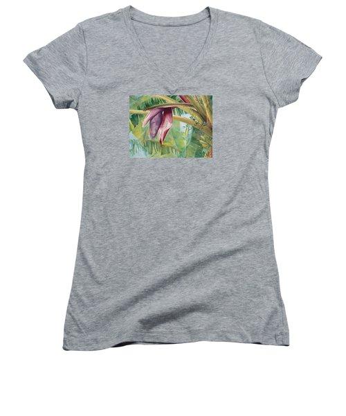 Banana Flower Women's V-Neck T-Shirt (Junior Cut) by AnnaJo Vahle