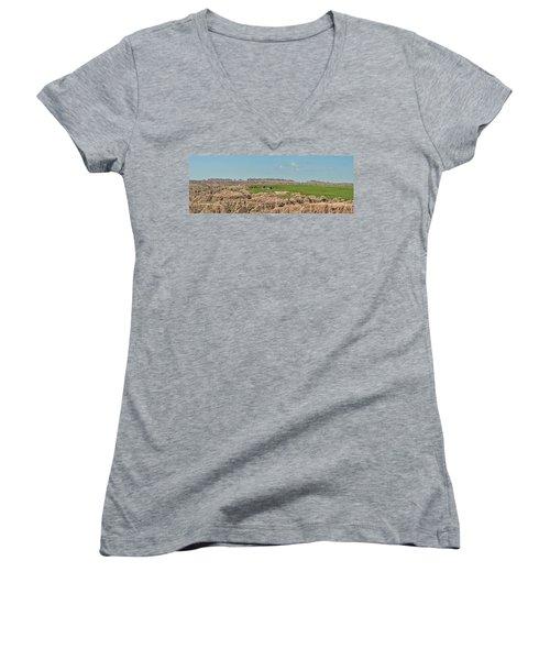 Badlands Panorama Women's V-Neck T-Shirt (Junior Cut) by Nancy Landry