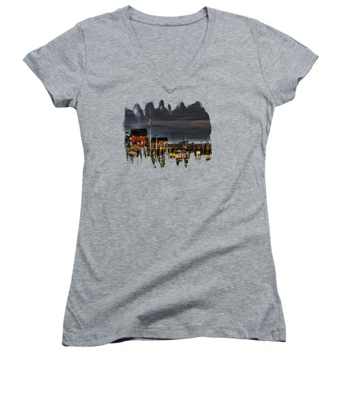 Women's V-Neck T-Shirt (Junior Cut) featuring the photograph Bandon Boat Basin At Dawn by Thom Zehrfeld