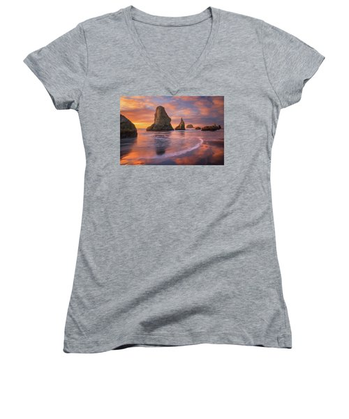 Women's V-Neck T-Shirt (Junior Cut) featuring the photograph Bandon's New Years Eve Light Show by Darren White