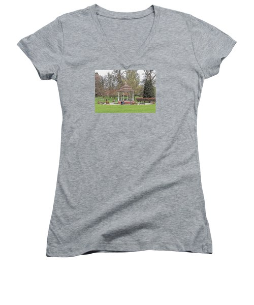 Women's V-Neck T-Shirt (Junior Cut) featuring the drawing Bandstand Games by Paul Gulliver