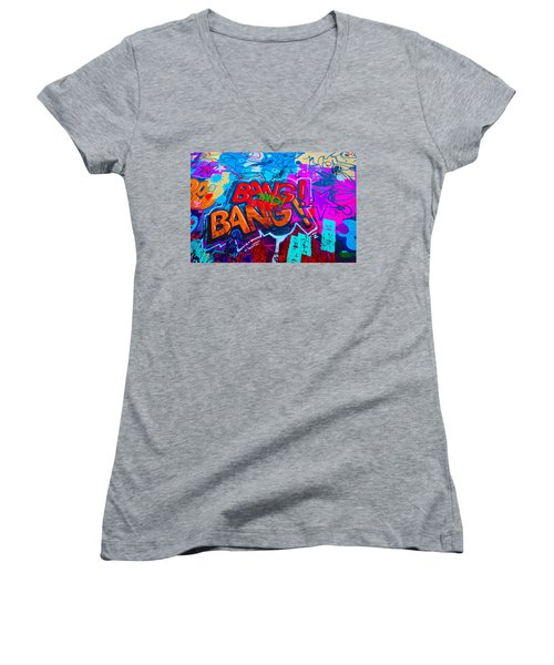 Bang Graffiti Nyc 2014 Women's V-Neck T-Shirt (Junior Cut) by Joan Reese