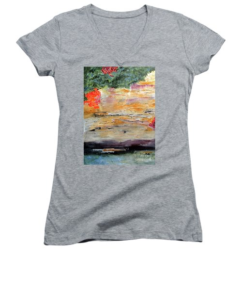Women's V-Neck T-Shirt (Junior Cut) featuring the painting Bank Of The Gauley River by Sandy McIntire