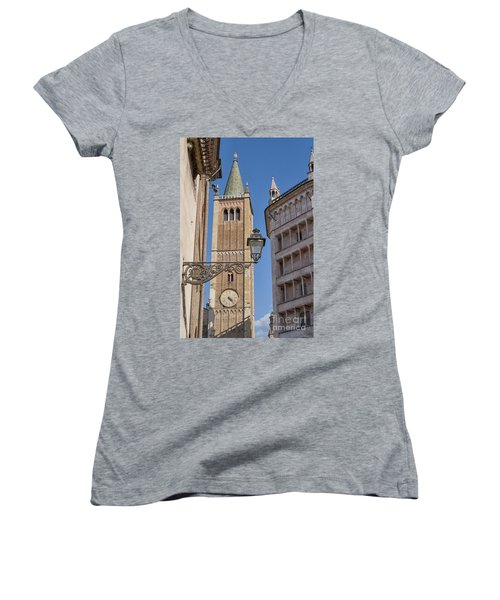 Baptistery And Cathedral In Parma Women's V-Neck T-Shirt (Junior Cut) by Patricia Hofmeester