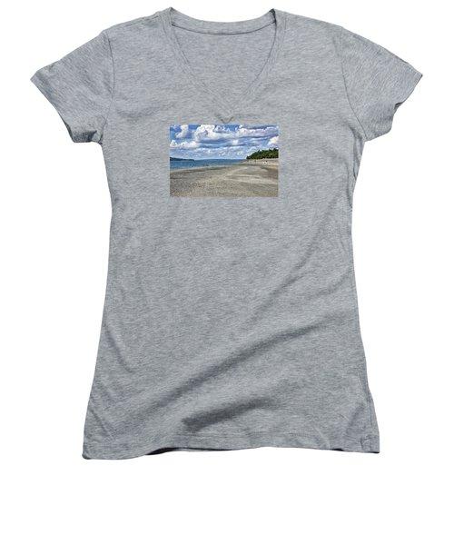 Bar Harbor - Land Bridge To Bar Island - Maine Women's V-Neck T-Shirt (Junior Cut) by Brendan Reals