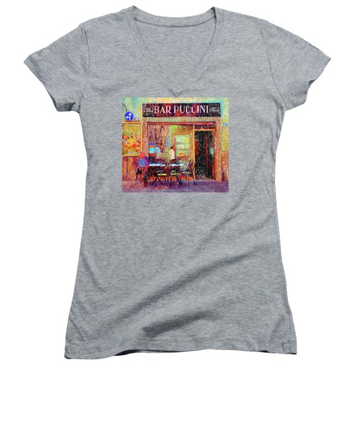 Bar Puccini Lucca Italy Women's V-Neck T-Shirt (Junior Cut) by Wally Hampton