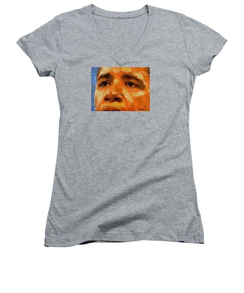 Women's V-Neck T-Shirt (Junior Cut) featuring the painting Barack by Kai Saarto