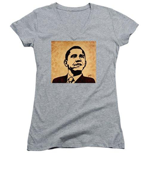 Barack Obama Original Coffee Painting Women's V-Neck T-Shirt (Junior Cut) by Georgeta  Blanaru