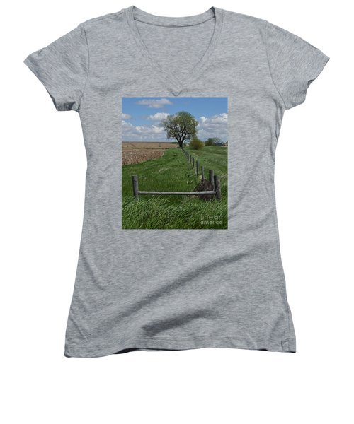 Barbed Wire Fence Line Women's V-Neck (Athletic Fit)