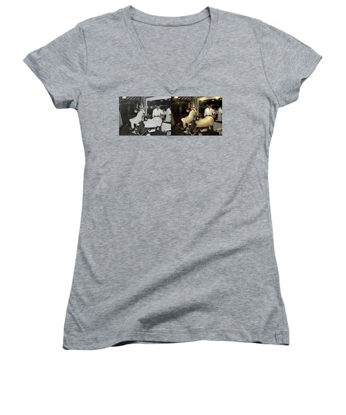 Women's V-Neck T-Shirt (Junior Cut) featuring the photograph Barber - A Time Honored Tradition 1941 - Side By Side by Mike Savad