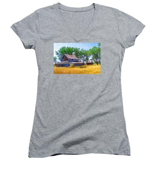 Women's V-Neck T-Shirt (Junior Cut) featuring the photograph Barber Homestead by Susan Kinney