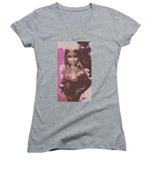 Barbie Sparkle Women's V-Neck T-Shirt (Junior Cut) by Karen J Shine
