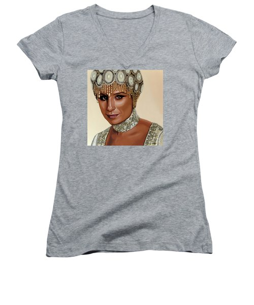 Barbra Streisand 2 Women's V-Neck T-Shirt (Junior Cut) by Paul Meijering