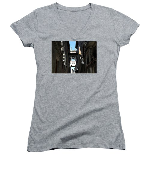 Women's V-Neck T-Shirt (Junior Cut) featuring the photograph Barcelona 1 by Andrew Fare