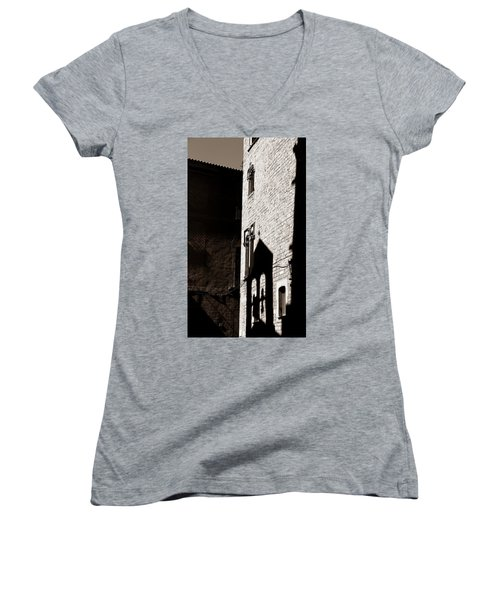 Women's V-Neck T-Shirt (Junior Cut) featuring the photograph Barcelona 2b by Andrew Fare