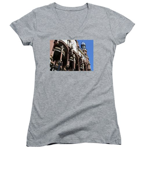 Women's V-Neck T-Shirt (Junior Cut) featuring the photograph Barcelona 4 by Andrew Fare