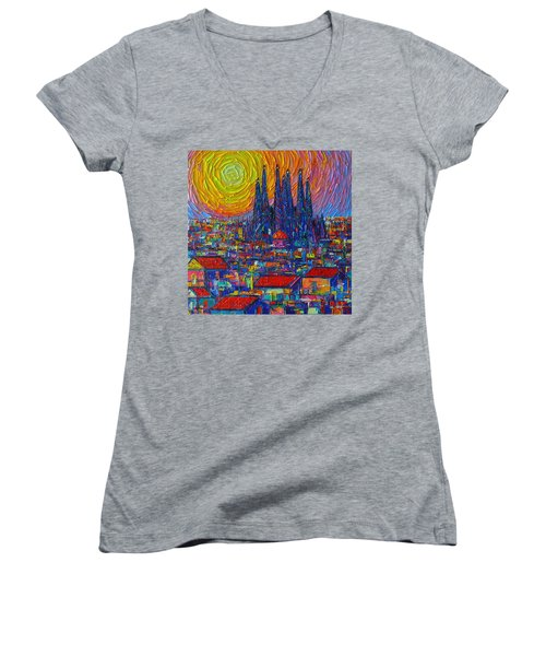 Barcelona Colorful Sunset Over Sagrada Familia Abstract City Knife Oil Painting Ana Maria Edulescu Women's V-Neck