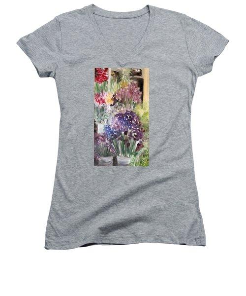Barcelona Flower Mart Women's V-Neck T-Shirt