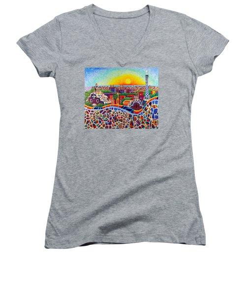 Barcelona Sunrise Colors From Park Guell Modern Impressionism Knife Oil Painting Ana Maria Edulescu Women's V-Neck