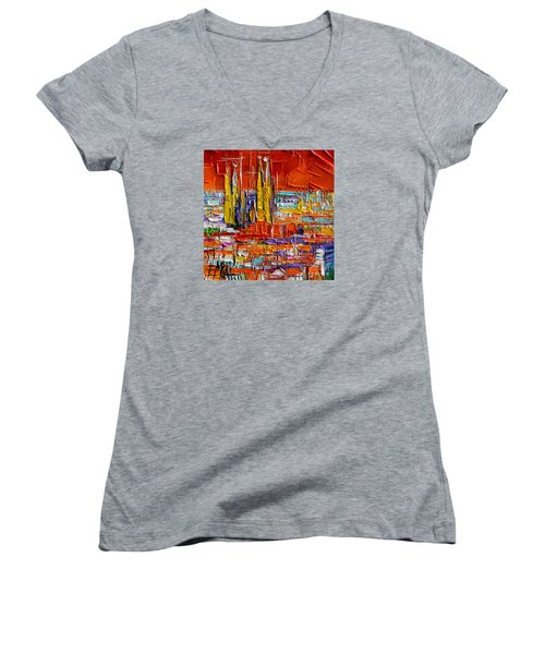 Barcelona View From Parc Guell - Abstract Miniature Women's V-Neck (Athletic Fit)