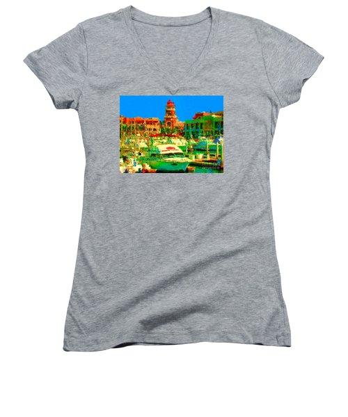 Barcos Cerca Paraiso Women's V-Neck T-Shirt (Junior Cut)