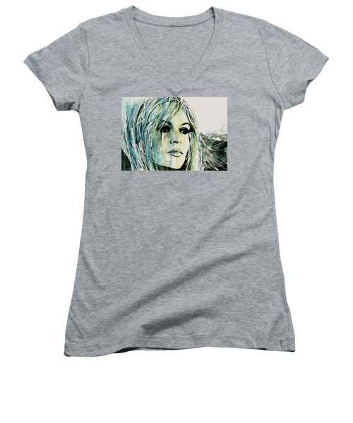 Women's V-Neck T-Shirt (Junior Cut) featuring the painting Bardot by Paul Lovering