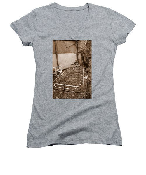 Women's V-Neck T-Shirt featuring the photograph Bare Bones Miners Camp by Marie Neder