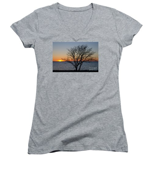 Bare Tree At Sunset Women's V-Neck (Athletic Fit)