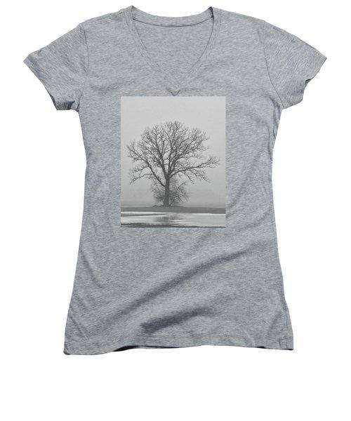 Bare Tree In Fog Women's V-Neck T-Shirt (Junior Cut) by Nancy Landry