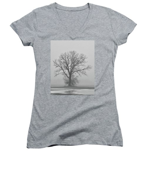 Bare Tree In Fog Women's V-Neck (Athletic Fit)