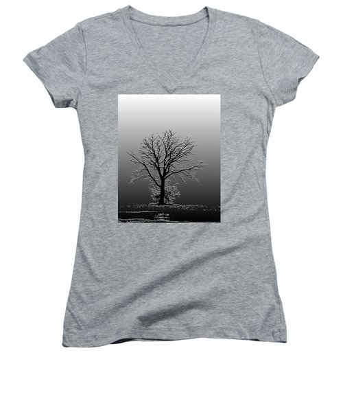 Bare Tree In Fog- Pe Filter Women's V-Neck (Athletic Fit)