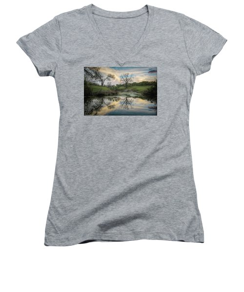Bare Tree Reflections Women's V-Neck