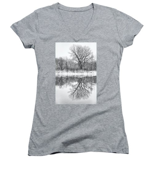 Women's V-Neck T-Shirt (Junior Cut) featuring the photograph Bare Trees by Darren White