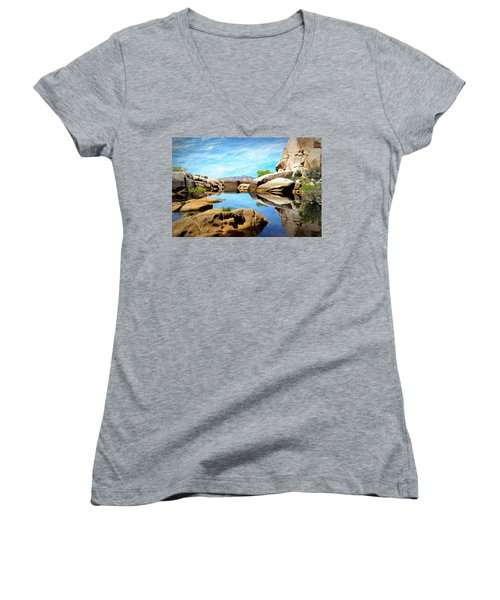 Women's V-Neck T-Shirt (Junior Cut) featuring the photograph Barker Dam - Joshua Tree National Park by Glenn McCarthy Art and Photography