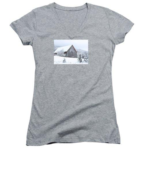 Barn After Snow Women's V-Neck T-Shirt (Junior Cut) by Tim Kirchoff
